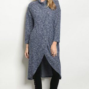 Blue Duster Style Sweater Tunic Top, Navy